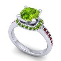 Halo Cushion Aksika Peridot Ring with Garnet in Palladium