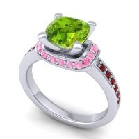 Halo Cushion Aksika Peridot Ring with Pink Tourmaline and Garnet in 18k White Gold