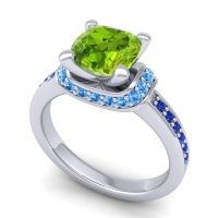 Halo Cushion Aksika Peridot Ring with Swiss Blue Topaz and Blue Sapphire in Platinum