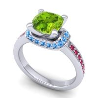Halo Cushion Aksika Peridot Ring with Swiss Blue Topaz and Ruby in Platinum