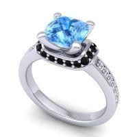 Halo Cushion Aksika Swiss Blue Topaz Ring with Black Onyx and Diamond in Platinum