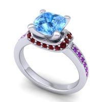 Halo Cushion Aksika Swiss Blue Topaz Ring with Garnet and Amethyst in Platinum