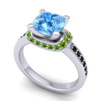 Halo Cushion Aksika Swiss Blue Topaz Ring with Peridot and Black Onyx in 14k White Gold