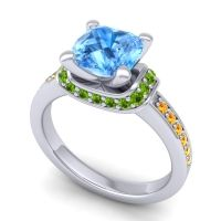Halo Cushion Aksika Swiss Blue Topaz Ring with Peridot and Citrine in 14k White Gold