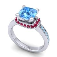 Halo Cushion Aksika Swiss Blue Topaz Ring with Ruby and Aquamarine in Platinum