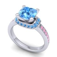 Halo Cushion Aksika Swiss Blue Topaz Ring with Pink Tourmaline in 18k White Gold