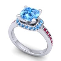 Halo Cushion Aksika Swiss Blue Topaz Ring with Ruby in Platinum