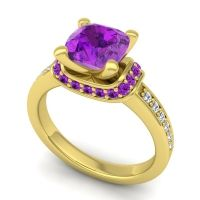 Halo Cushion Aksika Amethyst Ring with Diamond in 14k Yellow Gold