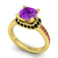 Halo Cushion Aksika Amethyst Ring with Black Onyx and Ruby in 14k Yellow Gold