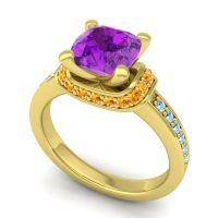 Halo Cushion Aksika Amethyst Ring with Citrine and Aquamarine in 18k Yellow Gold