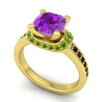 Halo Cushion Aksika Amethyst Ring with Peridot and Black Onyx in 18k Yellow Gold
