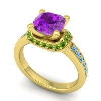 Halo Cushion Aksika Amethyst Ring with Peridot and Swiss Blue Topaz in 14k Yellow Gold