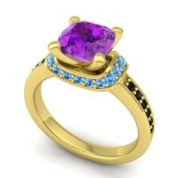 Halo Cushion Aksika Amethyst Ring with Swiss Blue Topaz and Black Onyx in 18k Yellow Gold