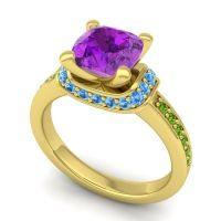 Halo Cushion Aksika Amethyst Ring with Swiss Blue Topaz and Peridot in 18k Yellow Gold