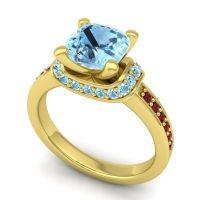 Halo Cushion Aksika Aquamarine Ring with Garnet in 14k Yellow Gold