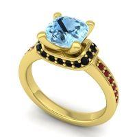 Halo Cushion Aksika Aquamarine Ring with Black Onyx and Garnet in 18k Yellow Gold