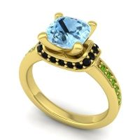 Halo Cushion Aksika Aquamarine Ring with Black Onyx and Peridot in 18k Yellow Gold