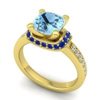 Halo Cushion Aksika Aquamarine Ring with Blue Sapphire and Diamond in 18k Yellow Gold