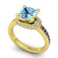 Halo Cushion Aksika Aquamarine Ring with Diamond and Blue Sapphire in 14k Yellow Gold