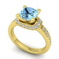 Halo Cushion Aksika Aquamarine Ring with Diamond in 14k Yellow Gold