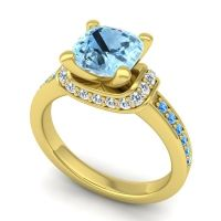 Halo Cushion Aksika Aquamarine Ring with Diamond and Swiss Blue Topaz in 14k Yellow Gold