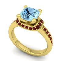Halo Cushion Aksika Aquamarine Ring with Garnet in 18k Yellow Gold