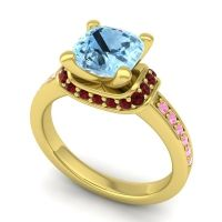 Halo Cushion Aksika Aquamarine Ring with Garnet and Pink Tourmaline in 18k Yellow Gold