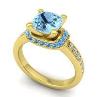 Halo Cushion Aksika Aquamarine Ring with Swiss Blue Topaz and Diamond in 18k Yellow Gold