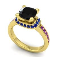 Halo Cushion Aksika Black Onyx Ring with Blue Sapphire and Amethyst in 14k Yellow Gold
