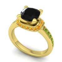 Halo Cushion Aksika Black Onyx Ring with Citrine and Peridot in 14k Yellow Gold