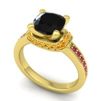 Halo Cushion Aksika Black Onyx Ring with Citrine and Ruby in 18k Yellow Gold