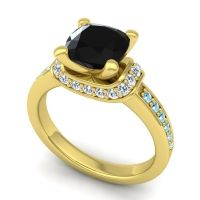 Halo Cushion Aksika Black Onyx Ring with Diamond and Aquamarine in 14k Yellow Gold