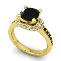 Halo Cushion Aksika Black Onyx Ring with Diamond in 14k Yellow Gold