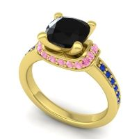 Halo Cushion Aksika Black Onyx Ring with Pink Tourmaline and Blue Sapphire in 18k Yellow Gold