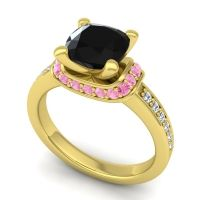 Halo Cushion Aksika Black Onyx Ring with Pink Tourmaline and Diamond in 14k Yellow Gold