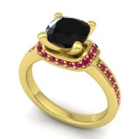 Halo Cushion Aksika Black Onyx Ring with Ruby in 14k Yellow Gold