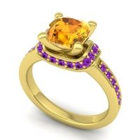 Halo Cushion Aksika Citrine Ring with Amethyst in 14k Yellow Gold