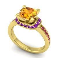 Halo Cushion Aksika Citrine Ring with Amethyst and Ruby in 18k Yellow Gold