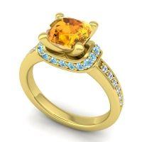 Halo Cushion Aksika Citrine Ring with Aquamarine and Diamond in 14k Yellow Gold