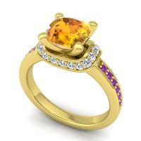 Halo Cushion Aksika Citrine Ring with Diamond and Amethyst in 18k Yellow Gold