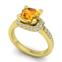 Halo Cushion Aksika Citrine Ring with Diamond in 18k Yellow Gold