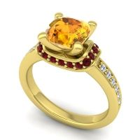 Halo Cushion Aksika Citrine Ring with Garnet and Diamond in 14k Yellow Gold