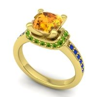 Halo Cushion Aksika Citrine Ring with Peridot and Blue Sapphire in 18k Yellow Gold