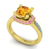 Halo Cushion Aksika Citrine Ring with Pink Tourmaline and Swiss Blue Topaz in 14k Yellow Gold