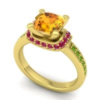 Halo Cushion Aksika Citrine Ring with Ruby and Peridot in 18k Yellow Gold