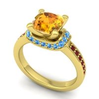 Halo Cushion Aksika Citrine Ring with Swiss Blue Topaz and Garnet in 14k Yellow Gold