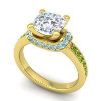 Halo Cushion Aksika Diamond Ring with Aquamarine and Peridot in 14k Yellow Gold