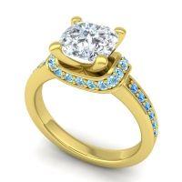 Halo Cushion Aksika Diamond Ring with Aquamarine and Swiss Blue Topaz in 18k Yellow Gold