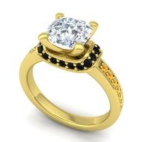Halo Cushion Aksika Diamond Ring with Black Onyx and Citrine in 14k Yellow Gold
