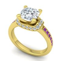 Halo Cushion Aksika Diamond Ring with Amethyst in 14k Yellow Gold